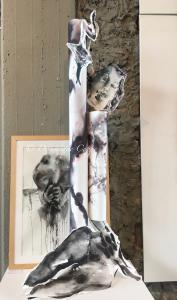 Hommage_aux_attentas_installation_aquarelle_Dominique_Coppe_1,50x3,00
