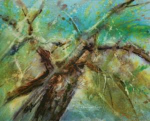 Il jette un cri immensément tendu Vers L'avenir(hommage au poème 'L'Arbre de E. Verhaeren)aquarelle Dominique Coppe