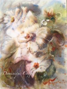 Douceur Florale Aquarelle Dominique Coppe L.0,45x H. 0,65