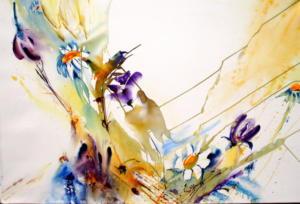 Eclatement floral Aquarelle Dominique Coppe