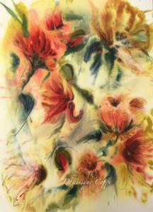 Fleurs jaune aquarelle Dominique Coppe L.0,45xH.0,65