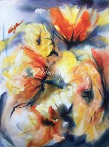 Fleurs jaunes aquarelle L.0,45x H. 0,65 Dominique Coppe