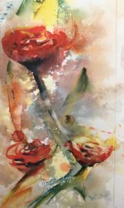 Fleurs rouge aquarelle Dominique Coppe